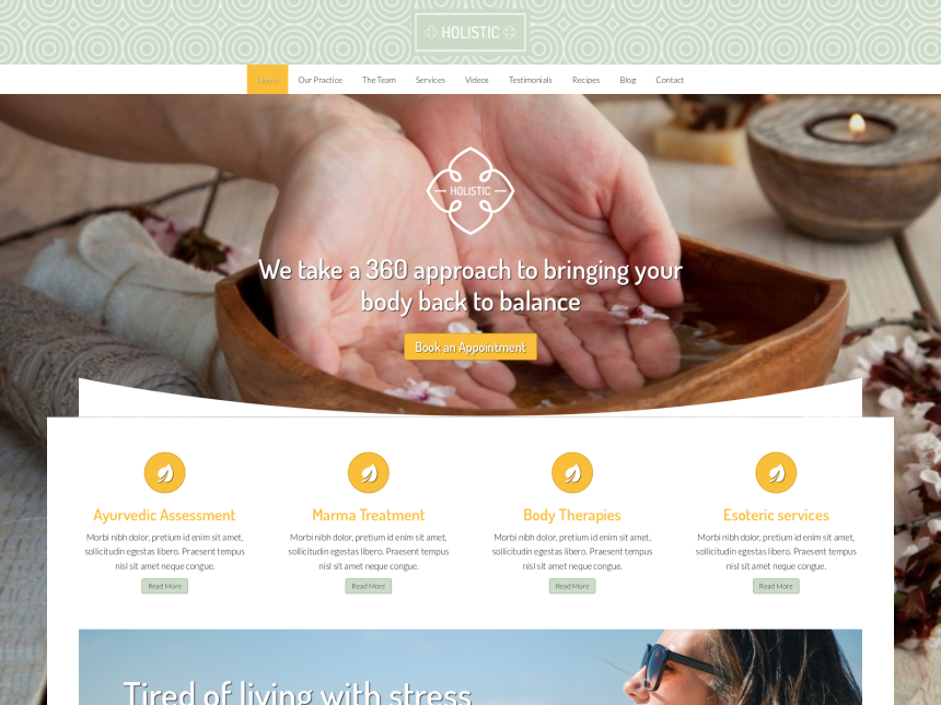 desktop screenshot of the WordPress theme 'Holistic WordPress Theme'