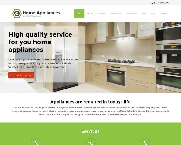 Desktop screenshot of the Home Appliances Website Template