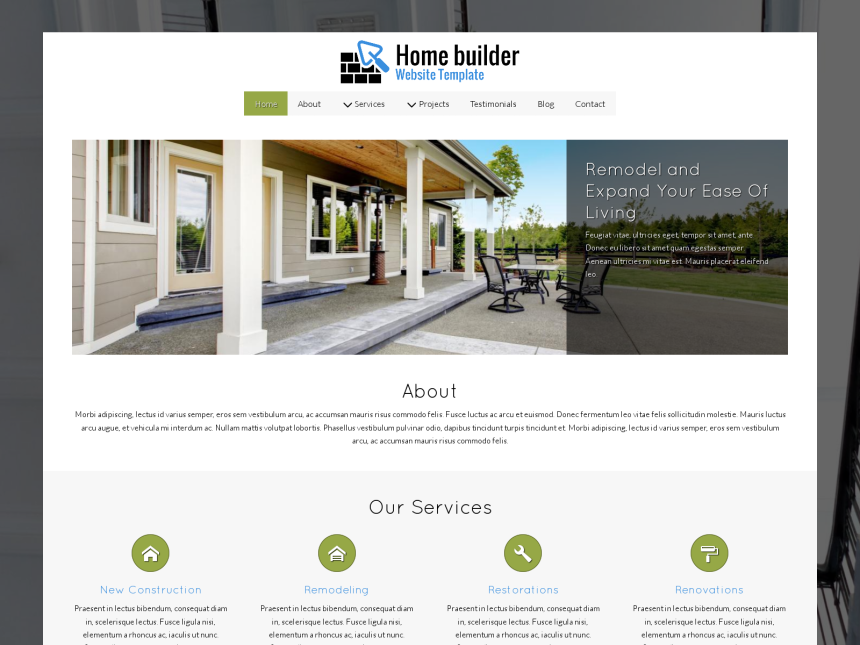 Home Builder Website Template - Template for Construction services