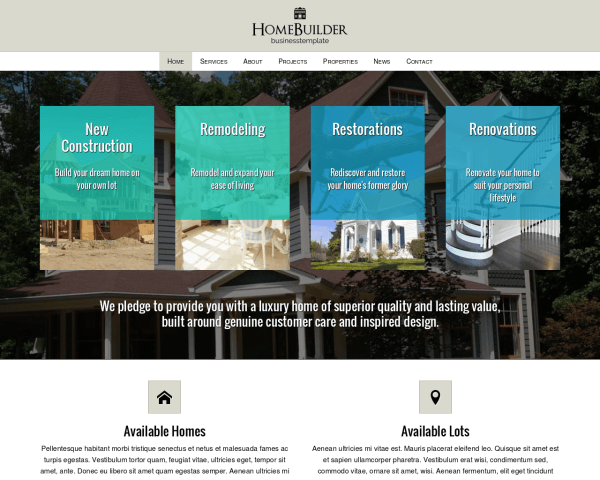 Home Builder WordPress theme thumbnail (desktop screenshot)