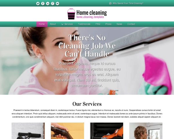 Desktop screenshot of the Home Cleaning Template