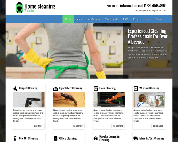 Desktop screenshot of the Home Cleaning Website