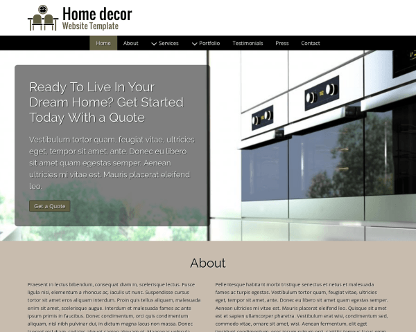 image representation of the Home Decor Website Template
