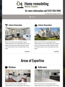 tablet screenshot WordPress theme 'Home Remodeling Website Template'