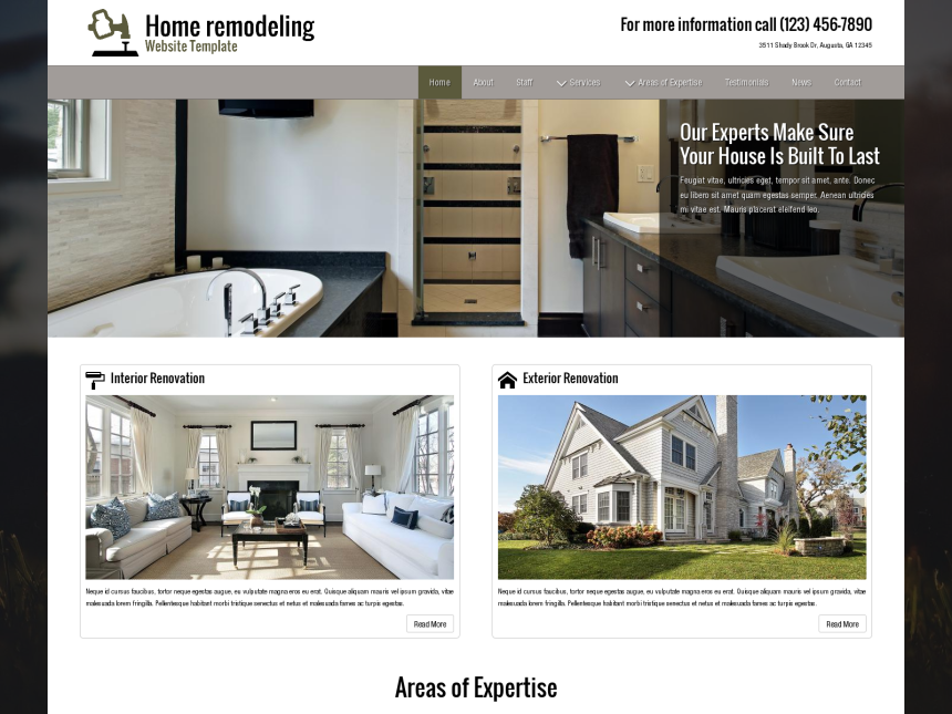 desktop screenshot of the WordPress theme 'Home Remodeling Website Template'