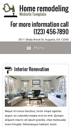 mobile phone screenshot WordPress theme 'Home Remodeling Website Template'