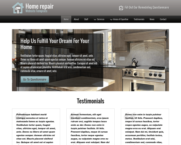 image representation of the Home Repair Website Template