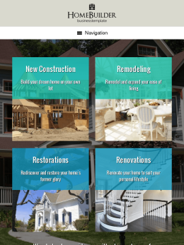 tablet screenshot WordPress theme 'Home Builder WordPress theme'