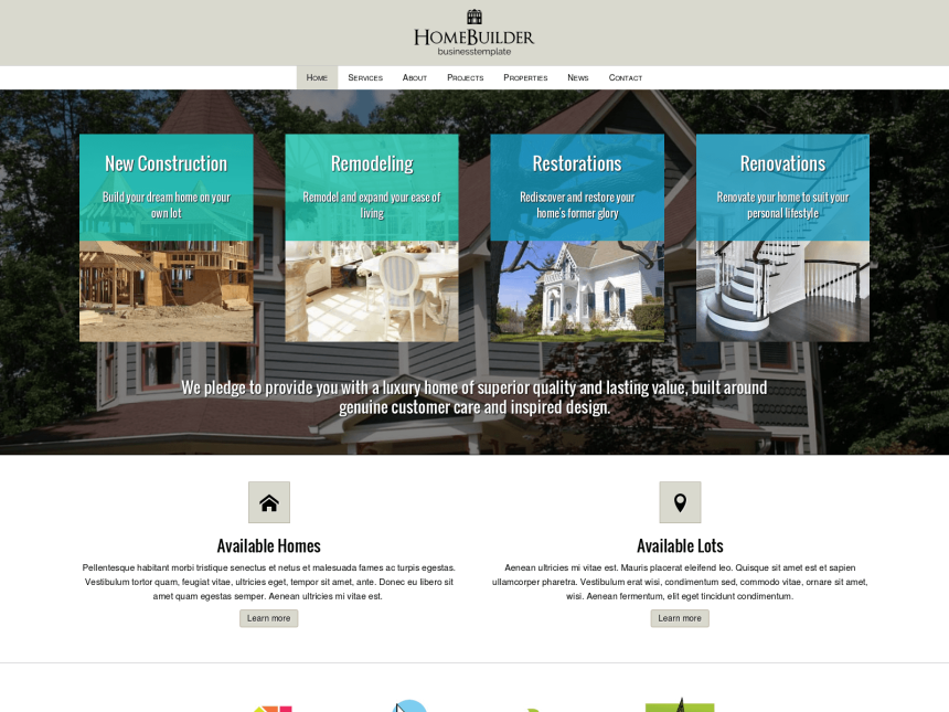 desktop screenshot of the WordPress theme 'Home Builder WordPress theme'