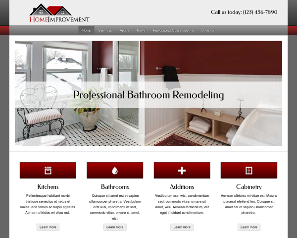 laptop screenshot WordPress theme 'Home Improvement WordPress theme'