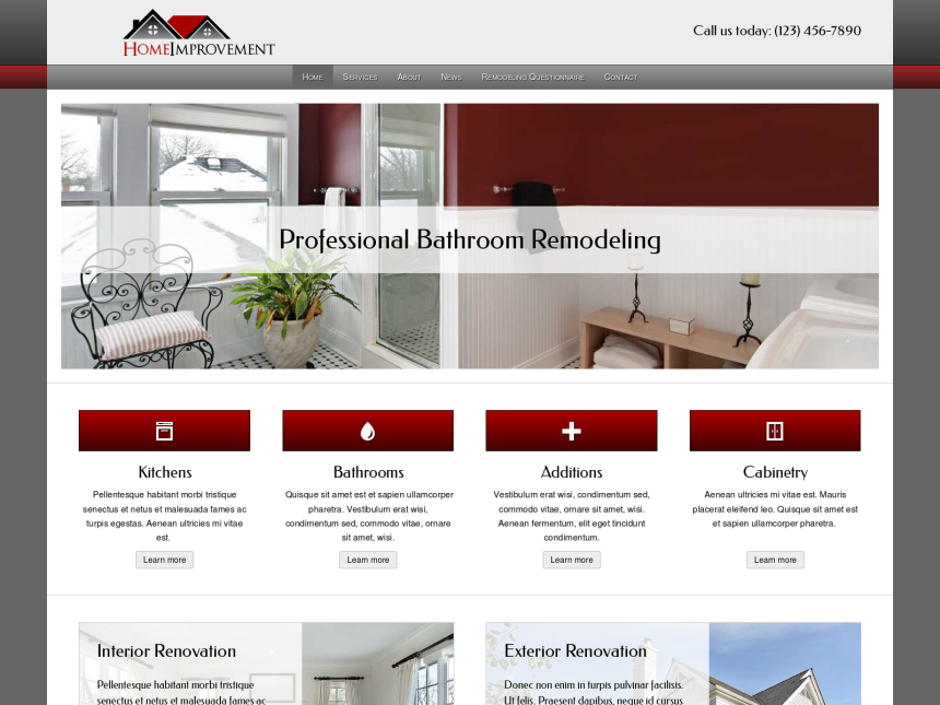 desktop screenshot of the WordPress theme 'Home Improvement WordPress theme'