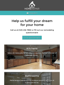 tablet screenshot WordPress theme 'Home Repair WordPress theme'