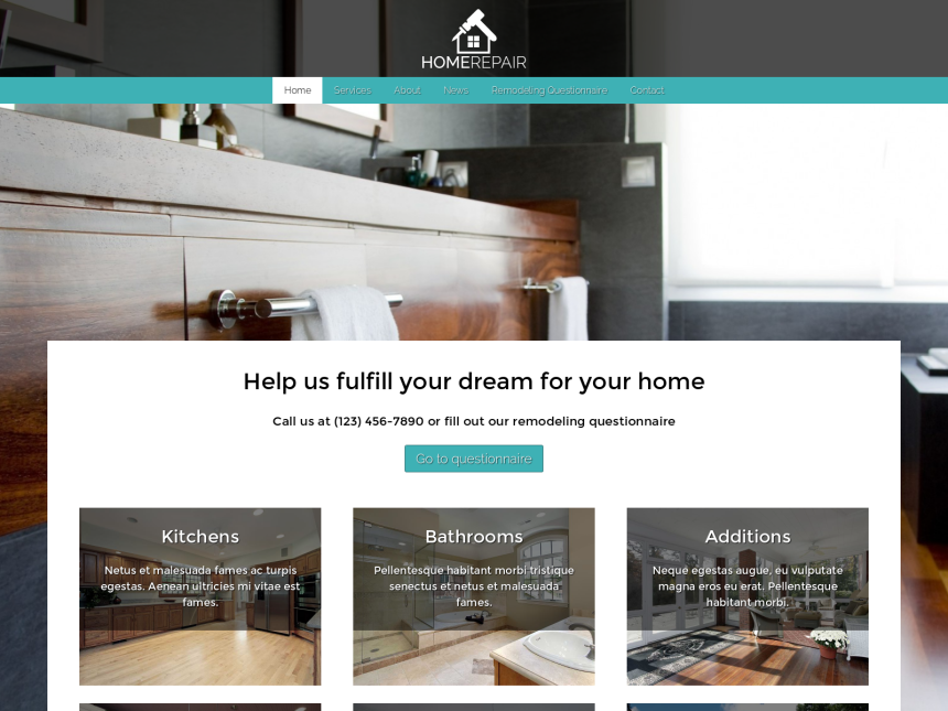 desktop screenshot of the WordPress theme 'Home Repair WordPress theme'