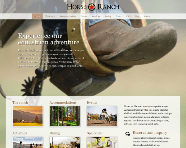 Desktop screenshot of the Horse Ranch Wordpress Theme