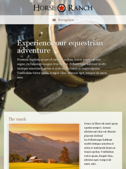 tablet screenshot WordPress theme 'Horse Ranch WordPress Theme'