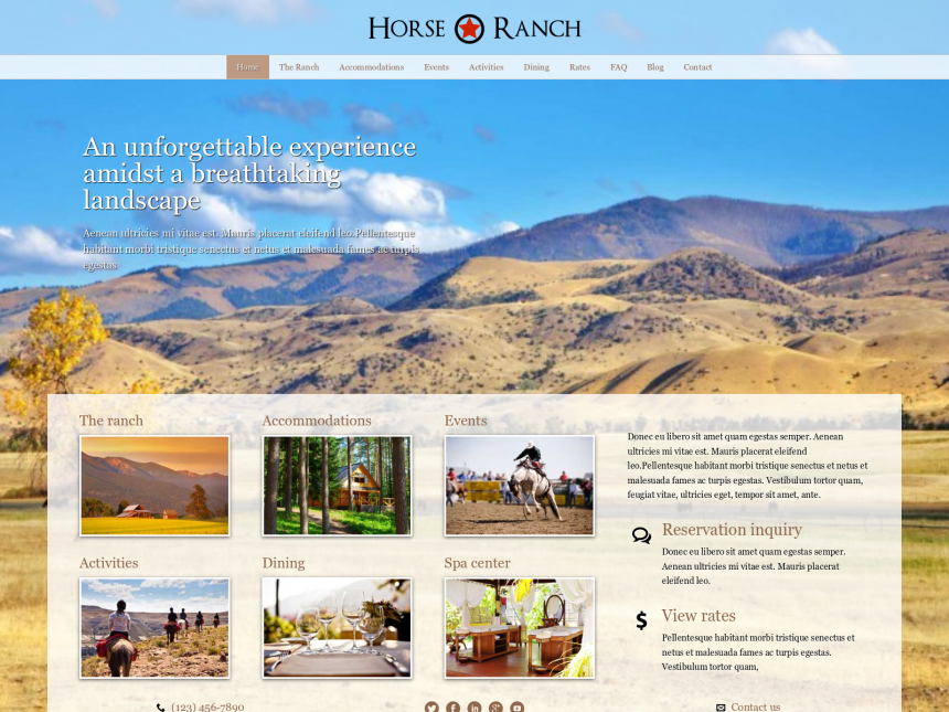 desktop screenshot of the WordPress theme 'Horse Ranch WordPress Theme'
