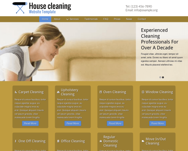 Desktop screenshot of the House Cleaning Website Template