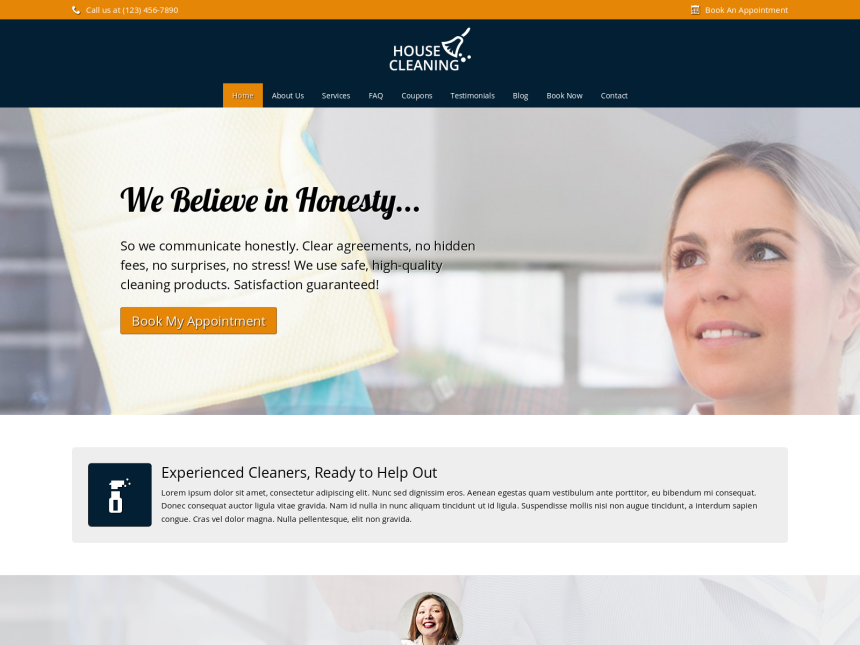 House Cleaning Wordpress Theme - Template for Cleaning organizations