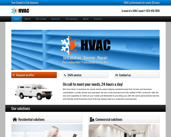 Desktop screenshot of the Hvac Wordpress Theme