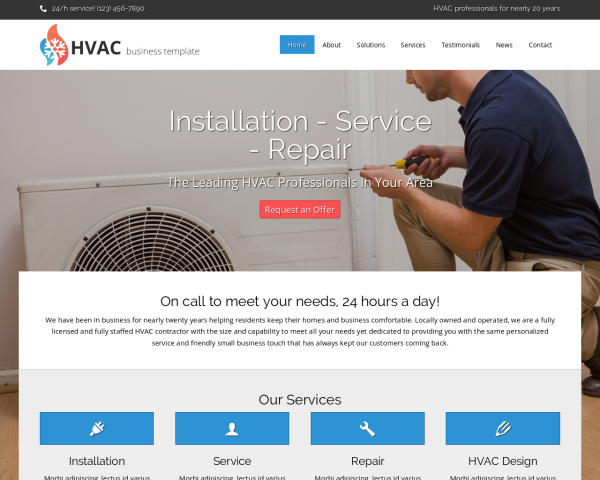 image representation of the HVAC Website Template