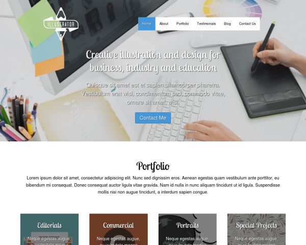 Desktop screenshot of the Illustrator Wordpress Theme