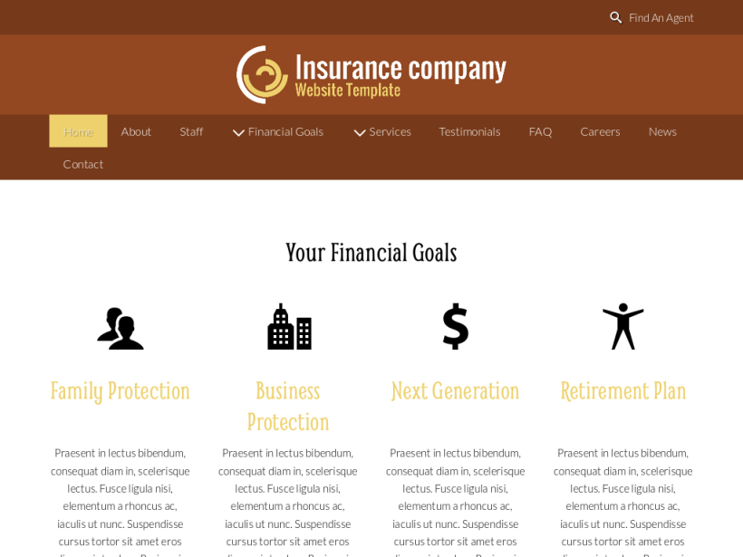 landscape tablet screenshot of WordPress theme 'Insurance Company Website Template'