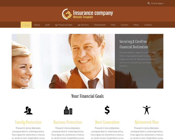 Insurance Company Website Template thumbnail (desktop screenshot)