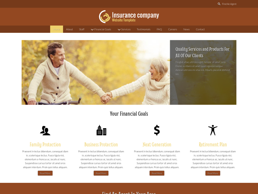 desktop screenshot of the WordPress theme 'Insurance Company Website Template'