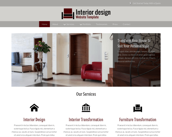 image representation of the Interior Design Website Template