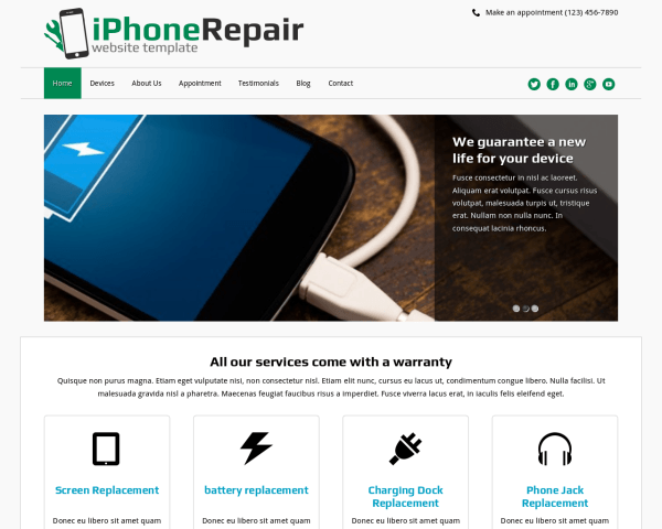 Iphone Repair Website Template