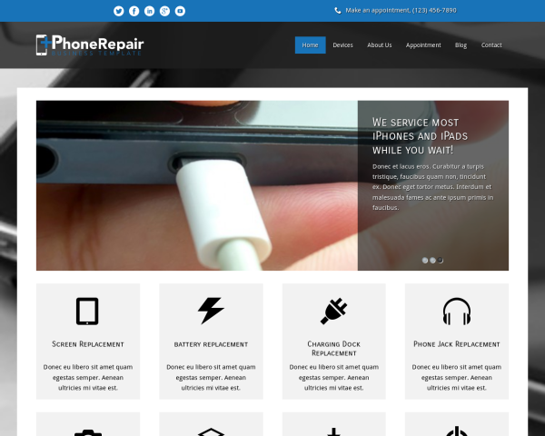 laptop screenshot WordPress theme 'iPhone Repair Wordpress theme'