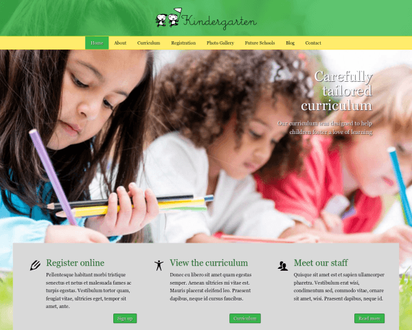 Desktop screenshot of the Kindergarten Wordpress Theme