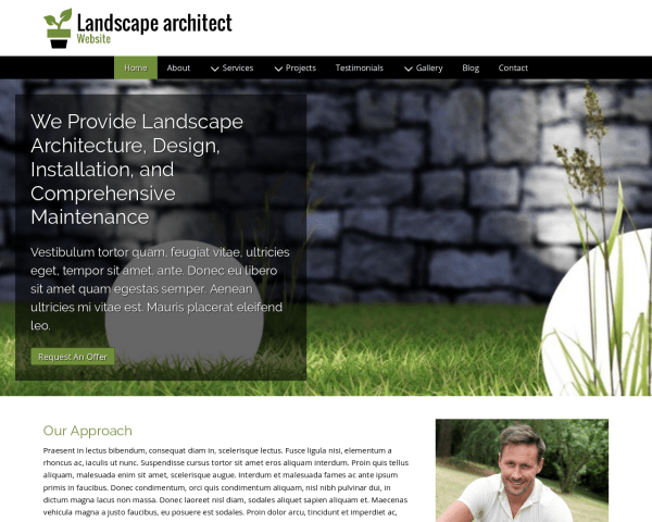 Desktop screenshot of the Landscape Architect Website