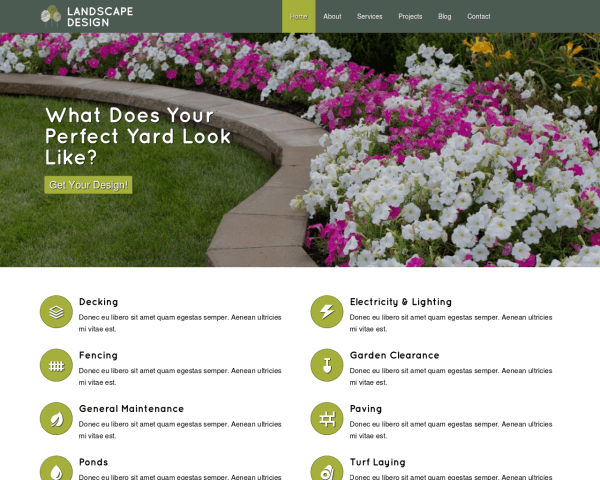 Desktop screenshot of the Landscape Design Website Template