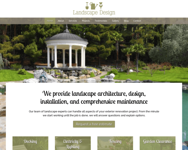 Desktop screenshot of the Landscape Design Wordpress Theme