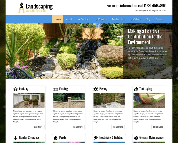 Desktop screenshot of the Landscaping Website Template