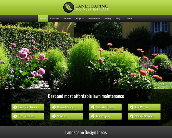 Desktop screenshot of the Landscaping Wordpress Theme
