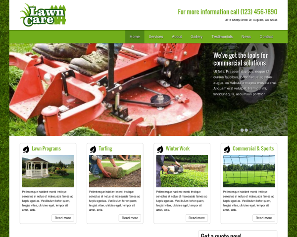 laptop screenshot WordPress theme 'Lawn Care WordPress theme'