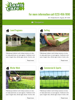 tablet screenshot WordPress theme 'Lawn Care WordPress theme'