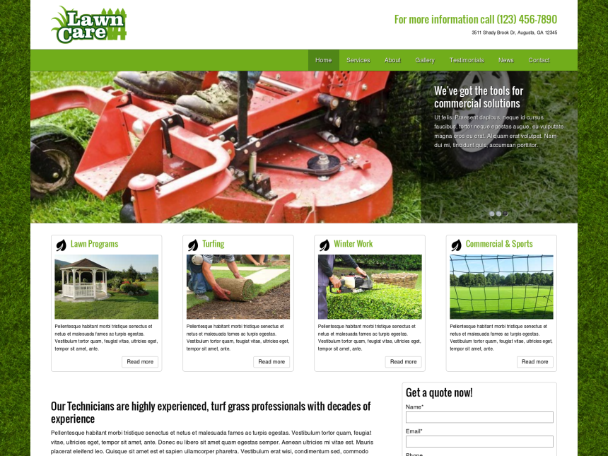 desktop screenshot of the WordPress theme 'Lawn Care WordPress theme'