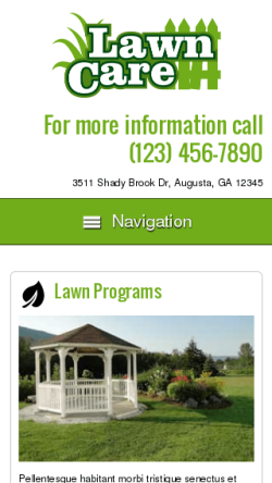 mobile phone screenshot WordPress theme 'Lawn Care WordPress theme'