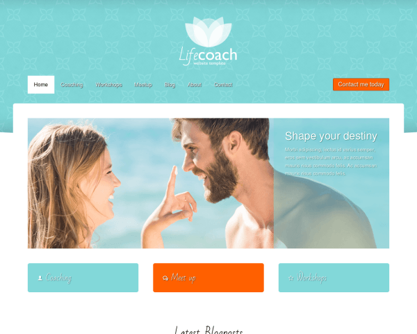 Desktop screenshot of the Life Coach Website Template