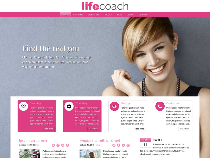 desktop screenshot of the WordPress theme 'Life Coach WordPress theme'