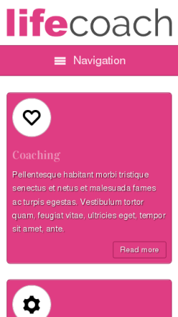 mobile phone screenshot WordPress theme 'Life Coach WordPress theme'