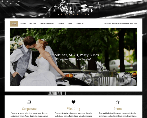Desktop screenshot of the Limo Service Wordpress Theme