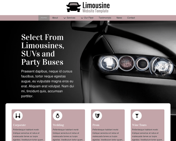 image representation of the Limousine Website Template