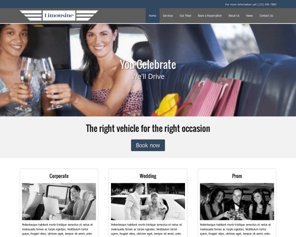 Desktop screenshot of the Limousine Wordpress Theme