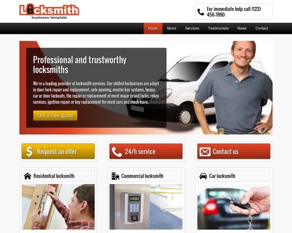 laptop screenshot WordPress theme 'Locksmith WordPress Theme'