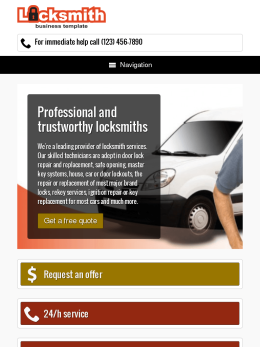 tablet screenshot WordPress theme 'Locksmith WordPress Theme'