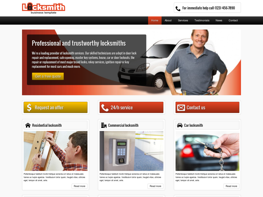 desktop screenshot of the WordPress theme 'Locksmith WordPress Theme'